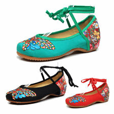 Girls Chinese Embroidered Flat Cloth Shoe Comfort Folk Floral Dance Women Shoes