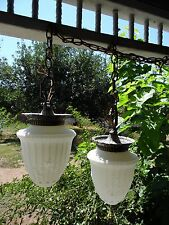 2 VTG Art Deco Glass Globes~ for Hanging  ceiling lights replacements