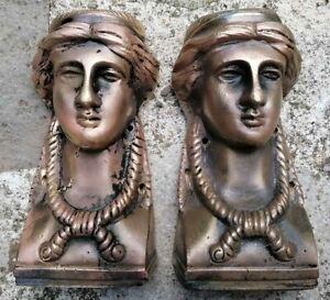 Element Architectural Antique Pair Of Bronze D'Ornamental Caryatids