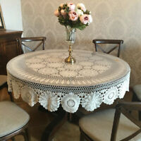 """Vintage Hand Crochet Cotton Tablecloth Round Lace Table Cloth Cover Wedding 59"""""""