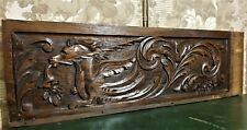 Scroll leaf horse wood carving pediment Atinque french oak architectural salvage