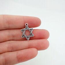 10 pcs Star of David Tibet silver Charms Pendants DIY Jewellery Making crafts
