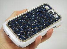 Blue Gray Bling Made with Swarovski Crystals Jewelled Rhinestones Case Galaxy S3