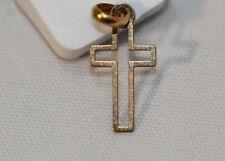 Croix en Or jaune 9 carats 375/1000 pendentif baptême catholique