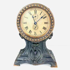 Antique Seth Thomas Long Alarm Victorian Copper Alarm Mantel Clock 10.25 Works