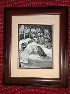Framed Louis Wain Cat Nightmare Owl Animal Painting Real Canvas Art Print