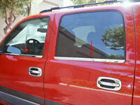 2000-2006 Chevy Avalanche 4PC Window Sill Trim Stainless Steel Overlay