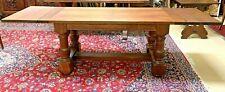 Rustic Antique Farmhouse Oak Trestle Dining Table Jacobean Turned Legs w/ Leaves