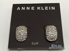 "Anne Klein Thick Rhinestones EZ-Clip Silver Plated Earrings 3/4"" Macy's New P838"
