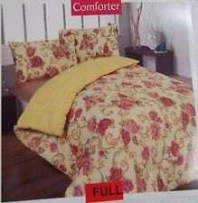 Yellow and Pink Floral Full Size Comforter