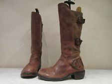 FLY LONDON BROWN LEATHER SUEDE ZIP UP BUCKLE BOOTS UK 4 EU 37 (3727)