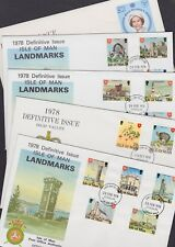 Isle of Man 1978-81 FDC 5 Post Office Covers Definitives Landmarks Manx Cat QEII