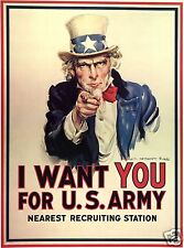 Uncle Sam World War 1  Recruiting Poster 1917 7x5 inch' I Want You For US Army'