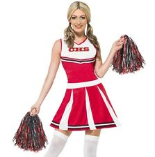Ladies Cheerleader Fancy Dress Costume & Pom Poms Womens Red Outfit by Smiffys L