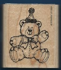 TEDDY BEAR PARTY HAT Paw Prints Stampin Up! 1991 Wood Mount Craft RUBBER STAMP