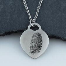 Personalized Fingerprint Heart Necklace - Stainless Steel - Memorial Gift Custom