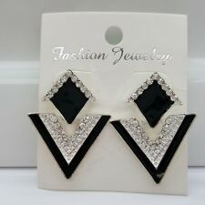Triangle Crystal Stud Drop Dangle Earrings Black/Silver Fashion Jewellery