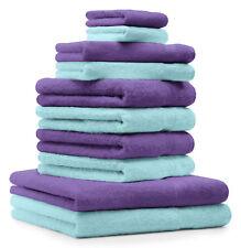 Betz Juego de 10 toallas CLASSIC 100% algodón de color morado y turquesa