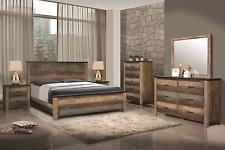MULTI-TONAL BROWN RUSTIC PLANK WOOD KING BED N/S DRESSER BEDROOM FURNITURE SET