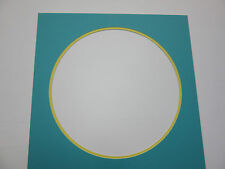 """Picture Framing Mat 18x18 with 14"""" round opening aquamarine and yellow"""
