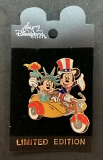 Disney DLR Americana Motorcycle Mickey Minnie Statue Of Liberty Uncle Sam Pin LE
