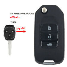 Upgraded Flip Remote Car Key Fob 3 Button 433MHz T5 for Honda Accord 2002-2003