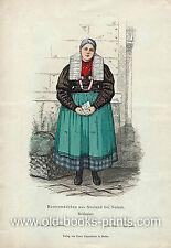 Neisse-Slesia-contadini ragazze in costume-kolorierter hozstich 1865-ORIG.