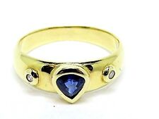 Pear Sapphire 0.35ct. & Diamonds 0.10ct. Yellow 14Carat Gold. Ring Size N