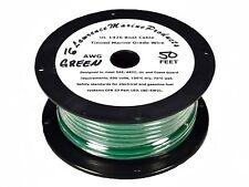 16 Gauge Tinned Marine Primary Wire / Green / 50 Foot Reel