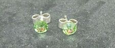 "Solid Sterling Silver and Swarovski Crystal 4.7mm stud earrings Peridot ""green"""