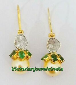 Genuine Emerald & Polki Diamond Earring Victorian 925 Solid Silver Pearl Earring