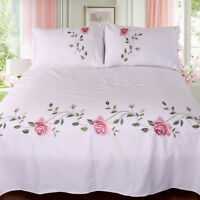 pure cotton bed sheet + 2 pillowcases embroidered Chinese traditional bed cover