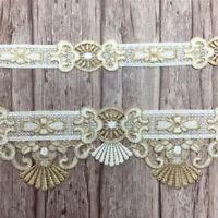 1 Yard Stickerei Gold Spitze Quaste Trim Ribbon Appliques DIY Vorhang Sofa Deko