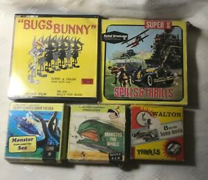 5 x SUPER 8  FILMS.  FROM ADVENTURE TO THRILLS AND  CARTOONS