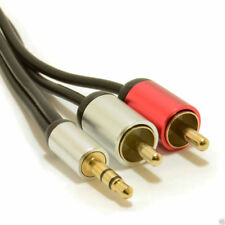 2m Aluminium PRO 3.5mm Stereo Jack to 2 RCA Phono Plugs Cable Gold [007524]