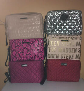 Steve Madden Monogram Large Cosmetic Bag Travel Pouch Wrist-let Double Zipper