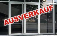 """3 Aufkleber Schriftzug """"AUSVERKAUF"""" Schaufensterbeschriftung Schaufenster Rabatt"""