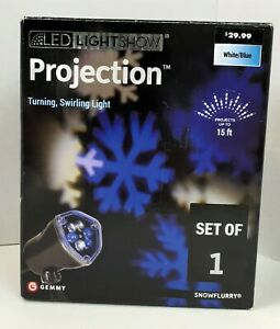 Gemmy LED Light Show SnowFlurry Projection Light Blue & White Turning Swirling
