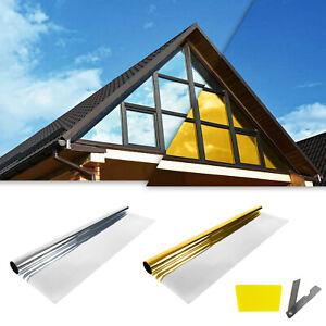 Spiegelfolie Selbstklebend Sonnenschutz Fenster Sichtschutz Folie Gold Silber UV