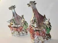 Pair of Vintage Silver Glazed Double Bass & Dolphins Figurines, Kitschy Decor