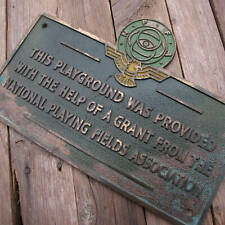 Old Brass National Playing Fields Association Sign / Plaque