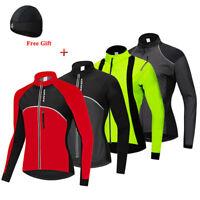 Winter Cycling Jersey Fleece Thermal with Hat Warm Windproof MTB Bike Coat Tops
