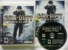 PS3 CALL OF DUTY WORLD AT WAR VIDEO GAME SONY PLAYSTATION 3 W/ CASE & MANUAL @@@