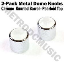2-Pack Metal Dome Knobs - Chrome Knurled Barrel - White Pearl Top Guitar Co