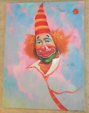 Original Goeth Painting Circus Clown with Striped hat Oil on Canvas Signed