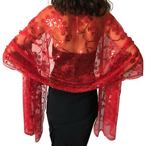 Central Chic Sequin Shawl Wrap Scarf Cover Up Wedding Bridal Wrap Sequin Scarf