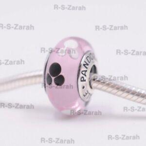 Pandora Disney Parks Mickey Mouse Pink Murano Glass Charm Bead S925 ALE New
