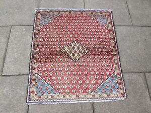 Vintage Hand Made Traditional Oriental Wool Red Blue Square Small Rug 109x98cm