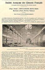 BOULOGNE-SUR-MER STE DES CIMENTS FRANCAIS DEMARLE-LONQUETY ARTICLE PRESSE 1924