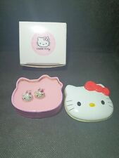 Hello Kitty crystal drop earrings by Avon new in tin and box gift,sweet